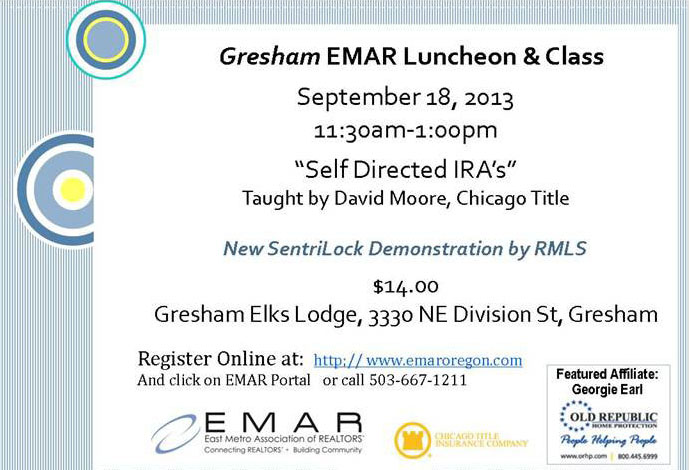 Gresham EMAR Luncheon Features Expert David Moore on Self-Directed IRAs