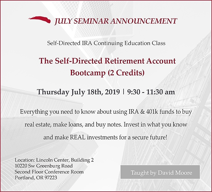 Most Common Self-Directed IRA & 401k Objections - Course Flyer