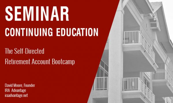 The Self-Directed Retirement Account Bootcamp, Thursday July 18th, 2019