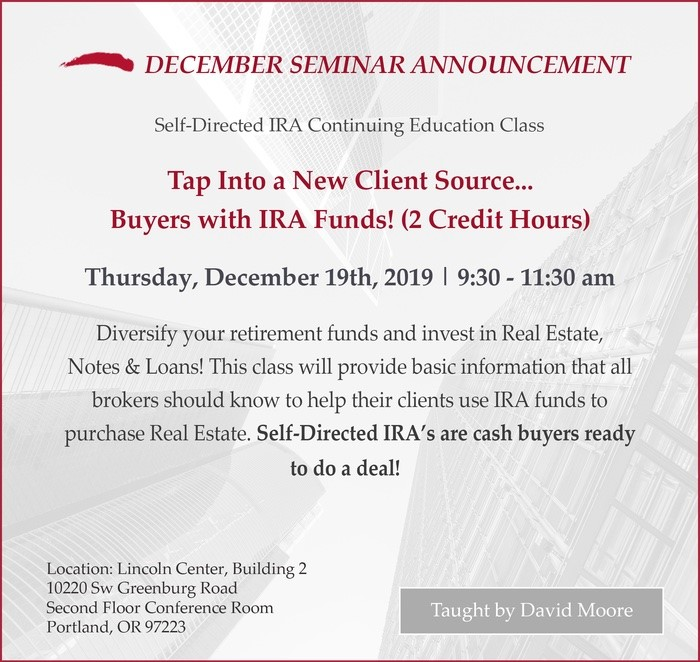Tap into a New Client Source - Buyers with IRA Funds! - Class Flyer